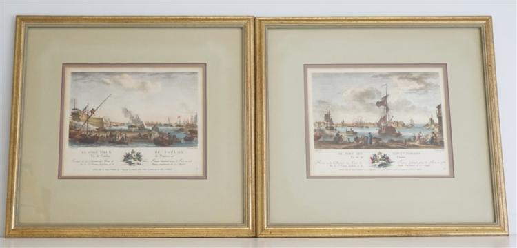 PAIR OF FRENCH MARITIME HAND COLORED ENGRAVINGS
