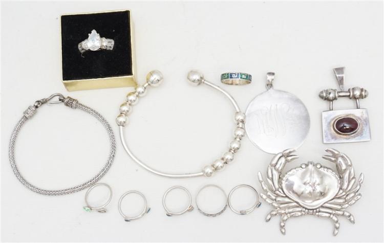 12 pc STERLING BRACELETS - RINGS - PENDANTS