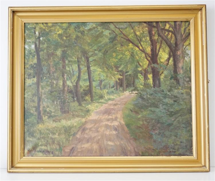 MID CENTURY OIL ON CANVAS FOREST PATH