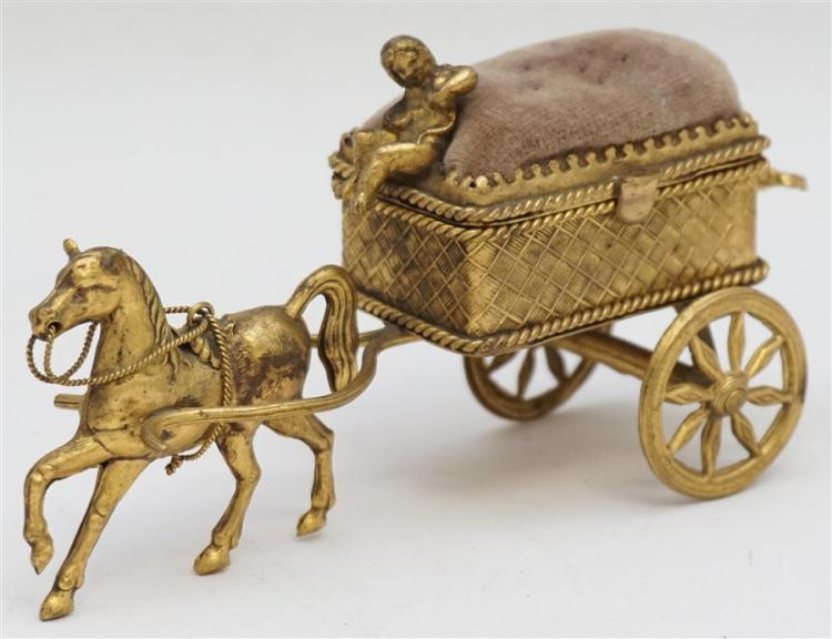 19th c. FRENCH FIGURAL GILT SEWING BOX