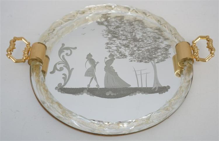 MURANO GLASS FIGURAL ETCHED MIRROR DRESSER TRAY