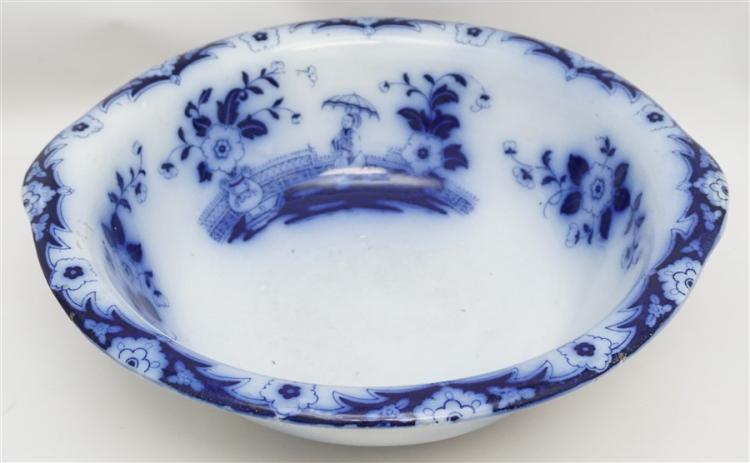 LARGE ENGLISH FLOW BLUE BASIN
