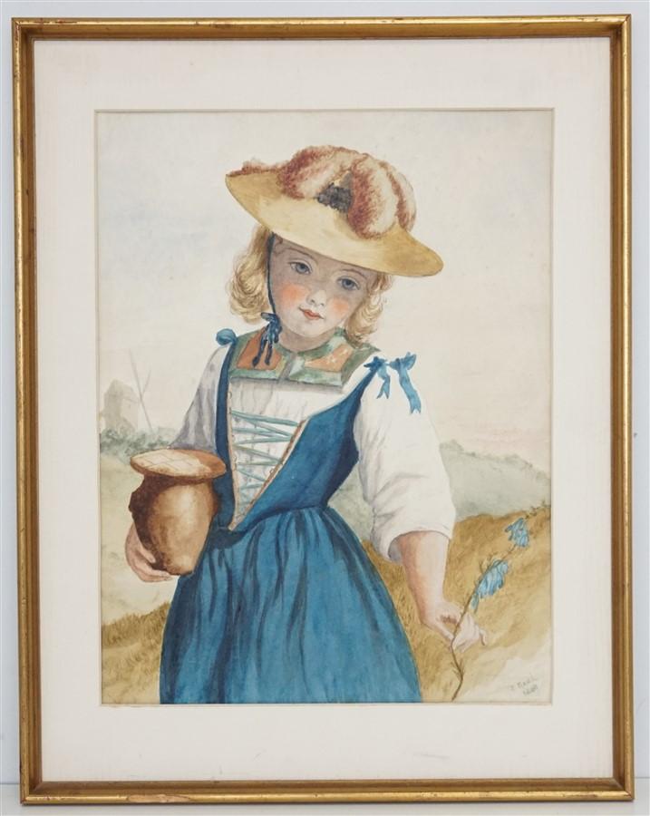 SAMUEL READ (1816-1883) WATERCOLOR PORTRAIT