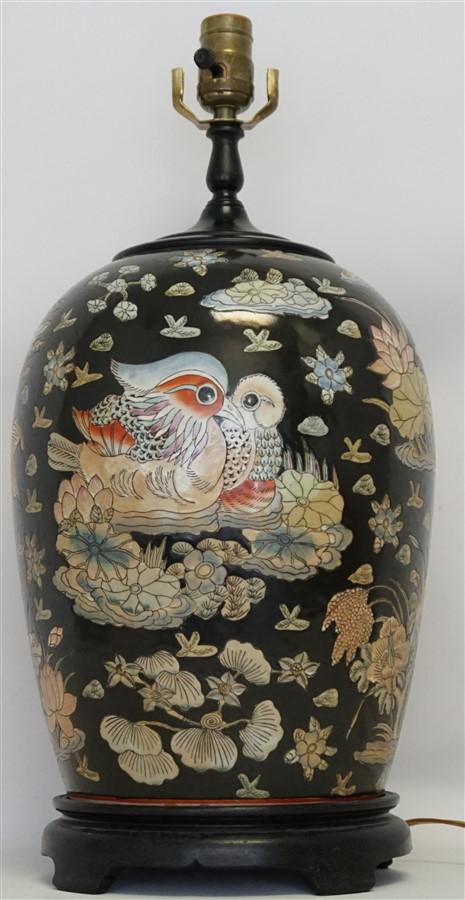 CHINESE PORCELAIN MANDARIN DUCKS LAMP