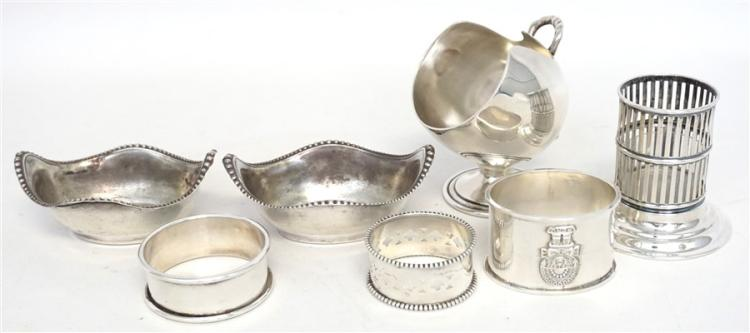 7 pcs STERLING TABLE ITEMS SUGAR SCUTTLE - NAPKIN RINGS