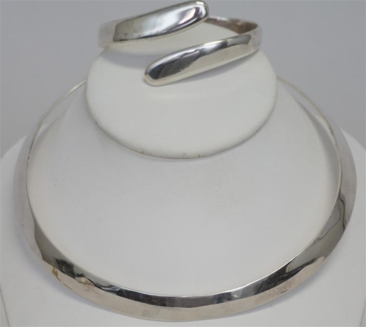 2 PC VINTAGE STERLING SILVER MODERNIST JEWELRY