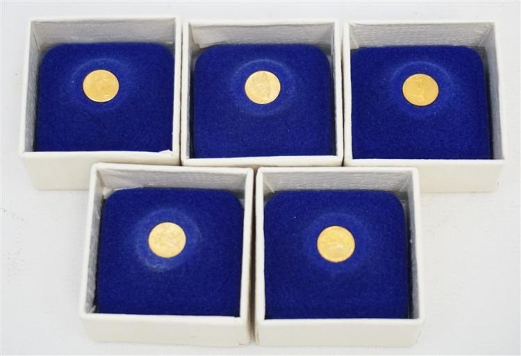FIVE MINIATURE ST GAUDEN $20 GOLD PIECES