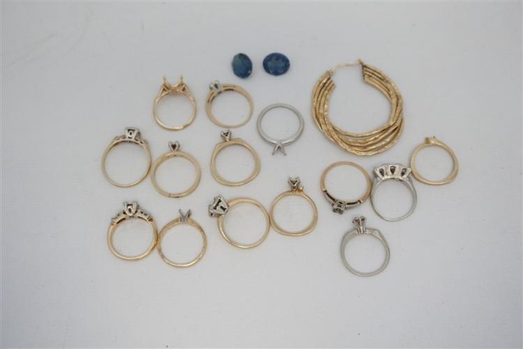 17 pc 14k GOLD RING SETTINGS - STONES & 1 EARRING