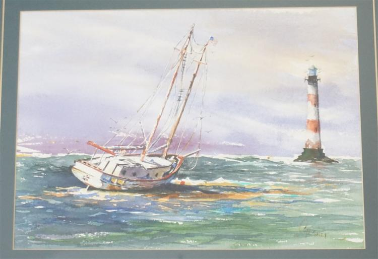JIM STAGNER WATERCOLOR LIGHTHOUSE