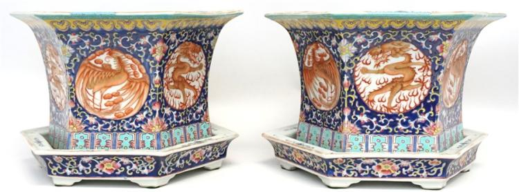 MATCHED PAIR OF PHOENIX & DRAGON PLANTERS