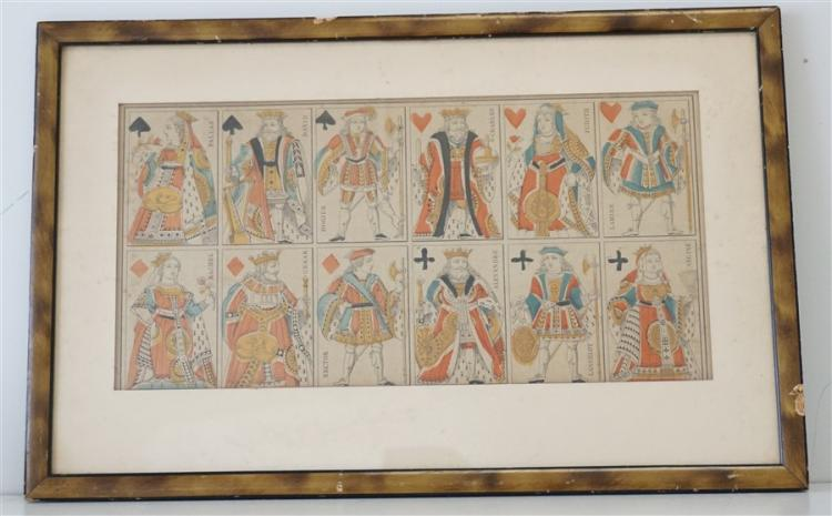 18TH C. FRENCH PLAYING CARDS ENGRAVING