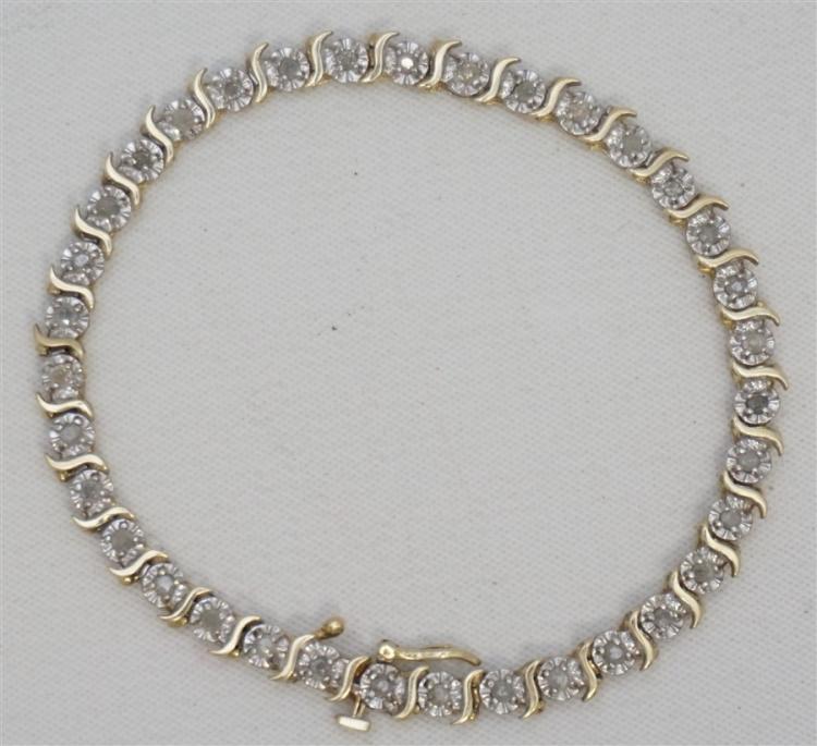 "10KT DIAMOND ""S"" LINK TENNIS BRACELET (6.80 GRAMS)"