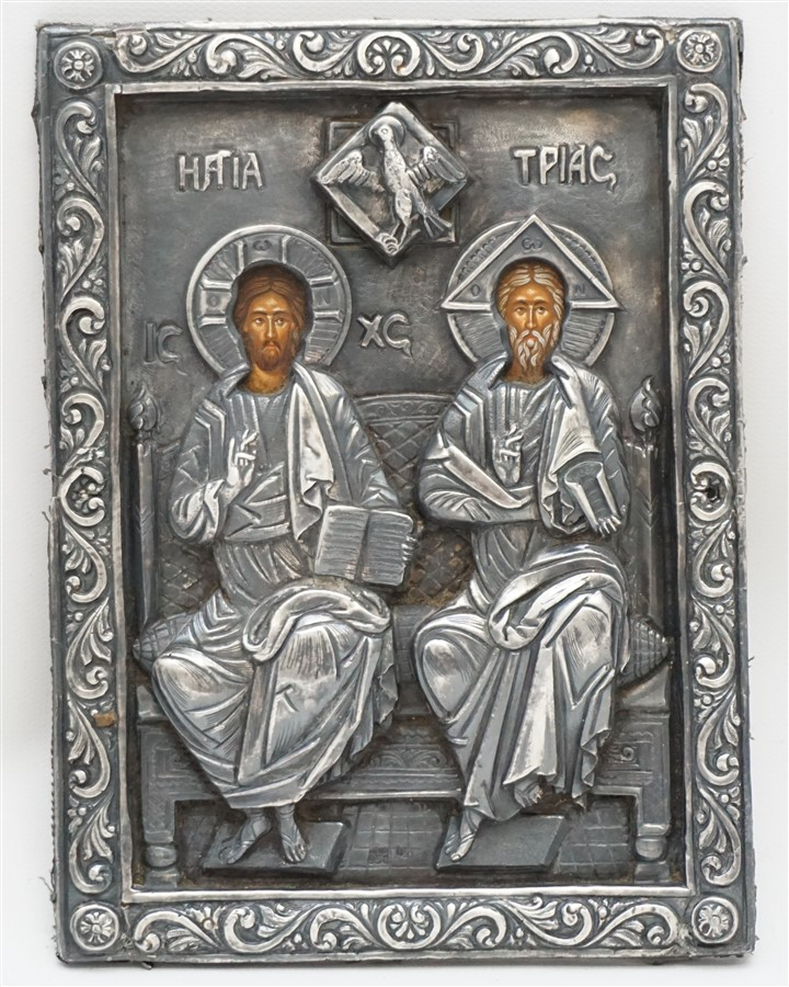 950 SILVER THE HOLY TRINITY BYZANTINE ICON