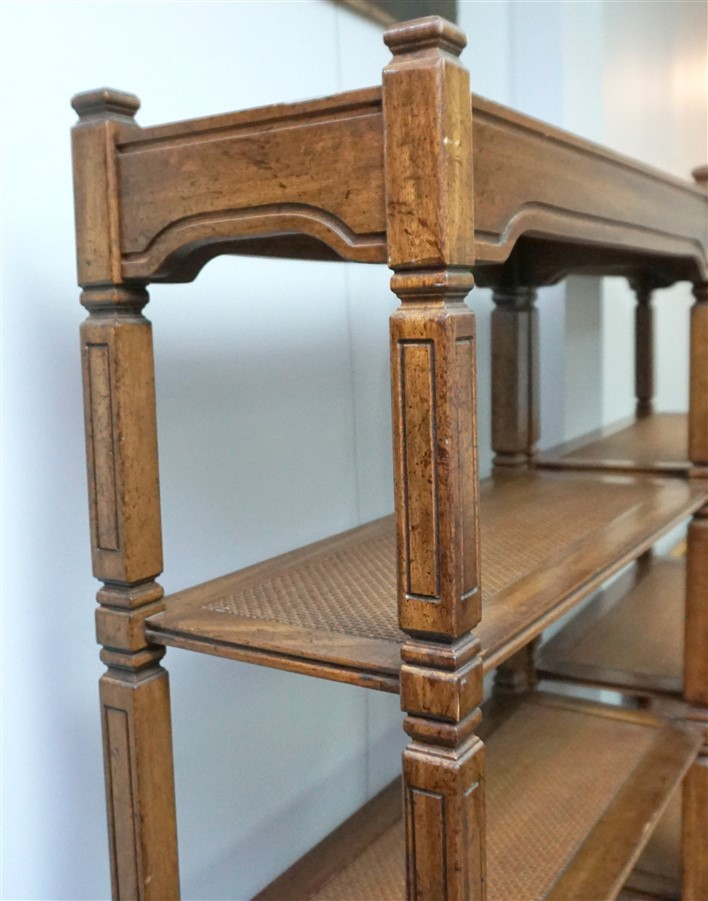 Pair Of Tall Wood Cane Bookshelves