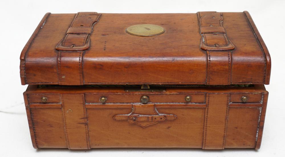 ANTIQUE FIGURAL TRUNK SEWING BOX
