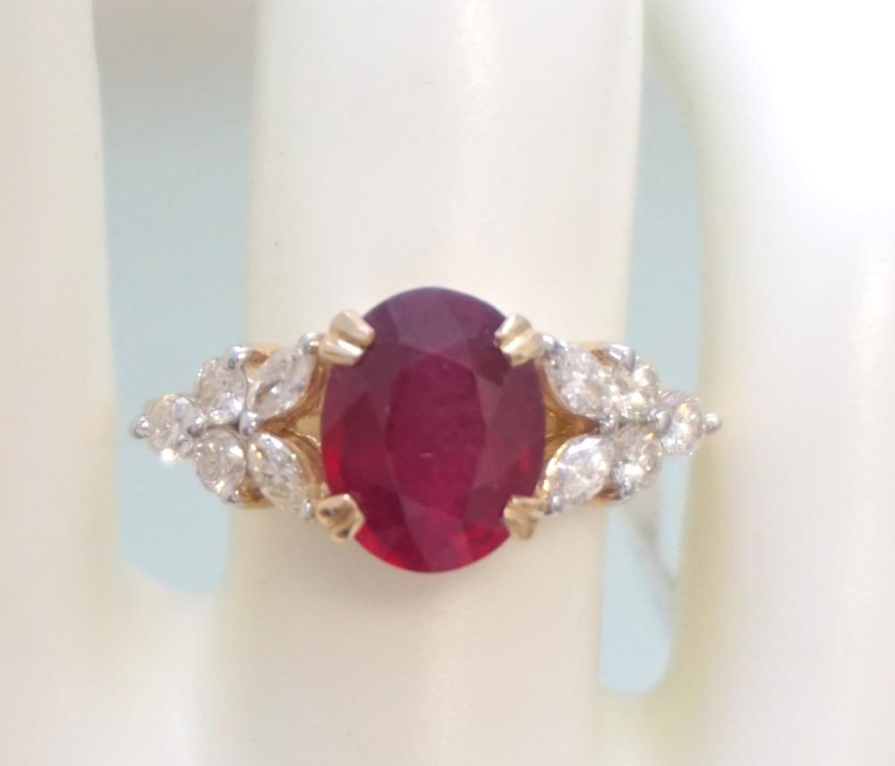 RUBY & DIAMOND COCKTAIL RING (SZ 7.25)