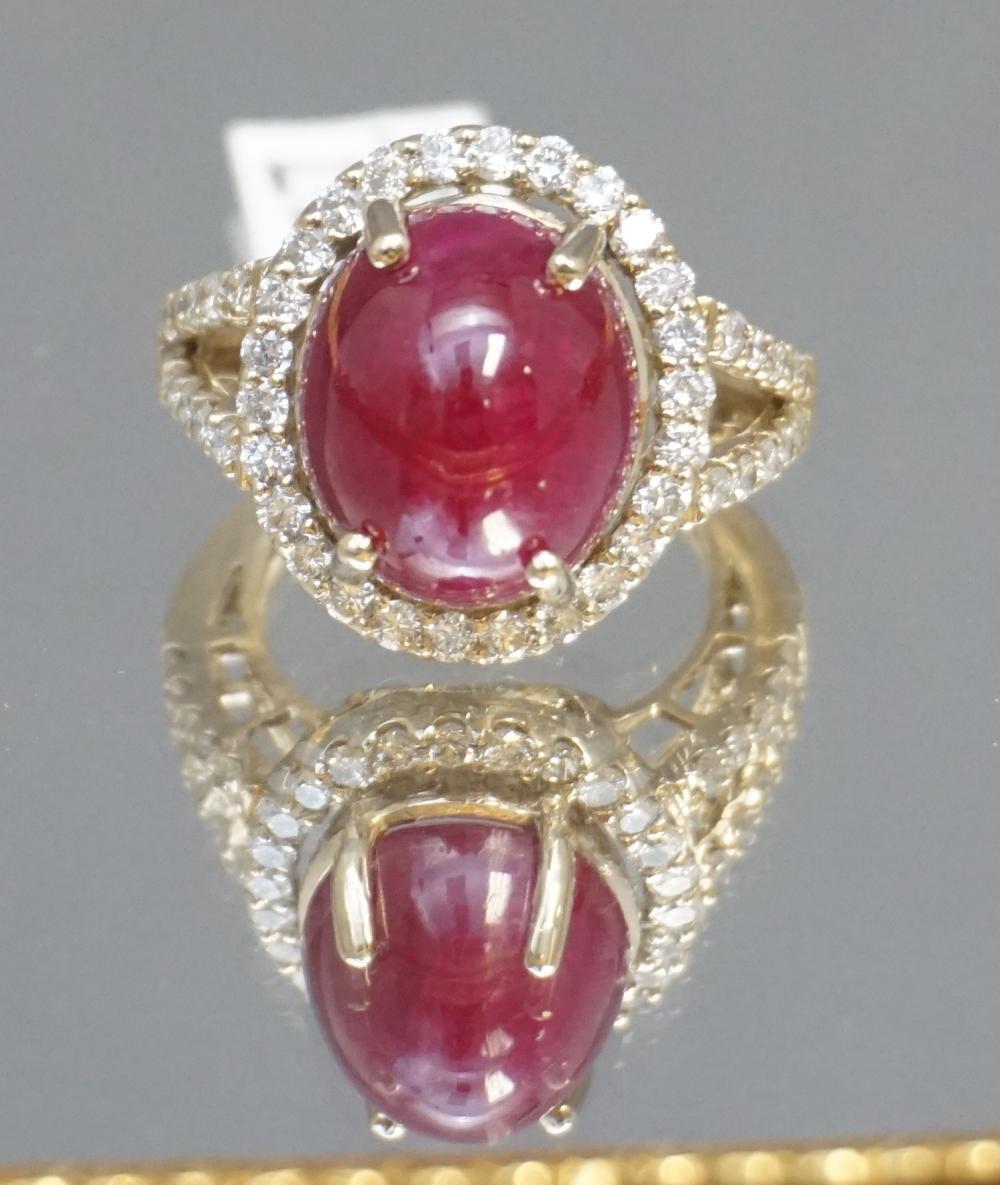 17.37CT RUBY & DIAMOND RING (SZ 7.5)
