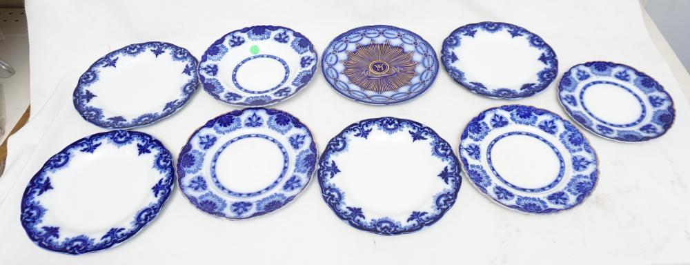 9 pc ANTIQUE ENGLISH FLOW BLUE PLATES