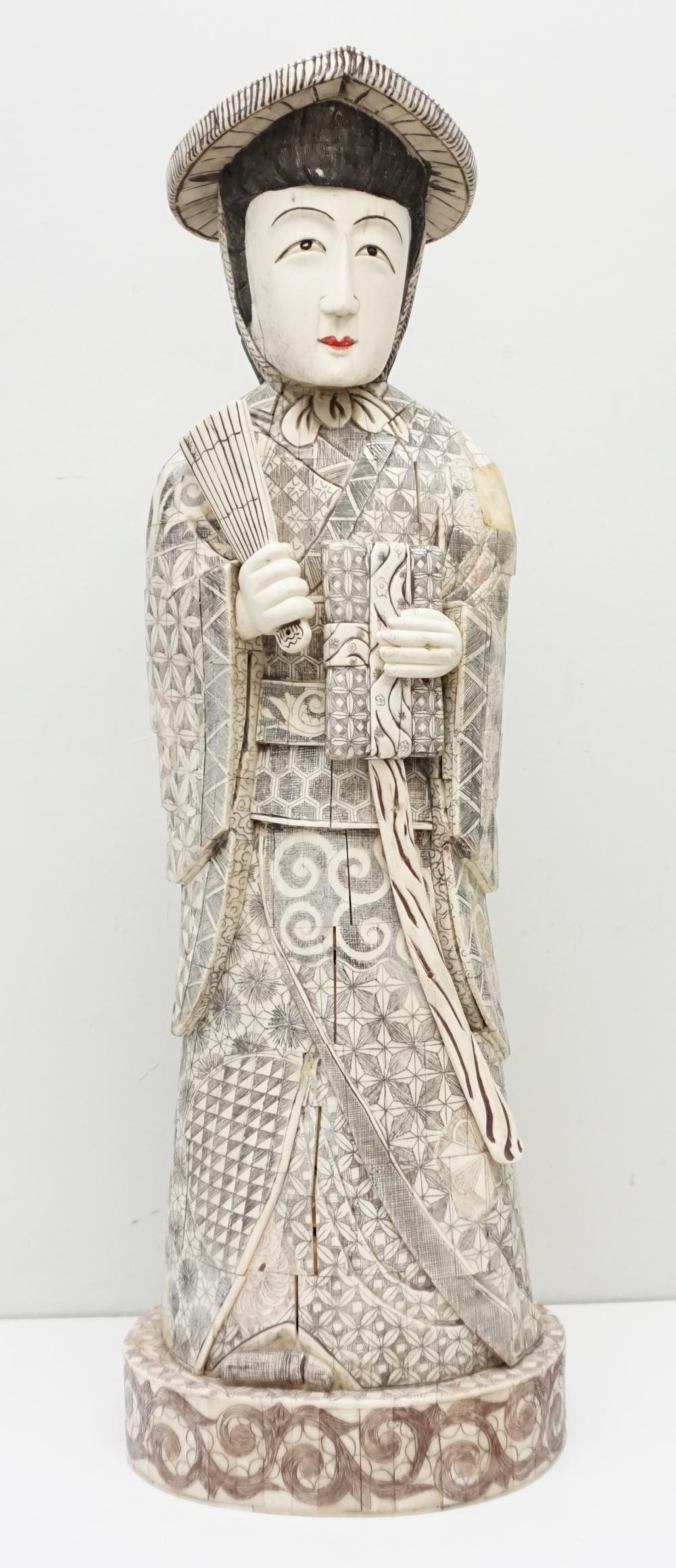 Large Japanese Carved Bone Geisha Okimono