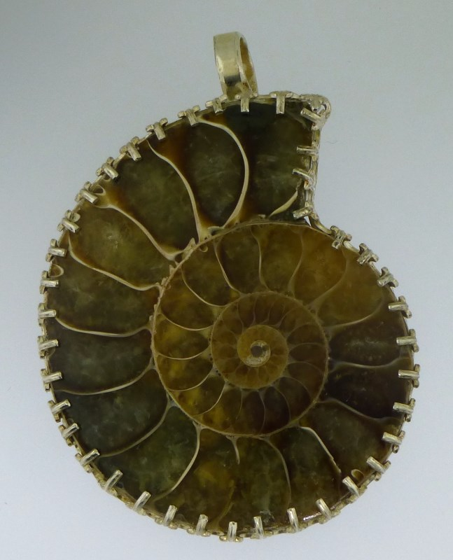 STERLING & AMMONITE HAND CRAFTED PENDANT