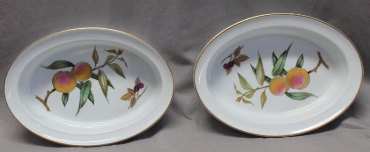 PAIR 2 EVESHAM GOLD ROYAL WORCESTER LARGE 11 BAKERS