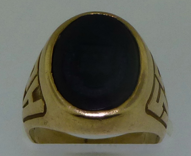 10KT GOLD ONYX CREST SCHOOL RING