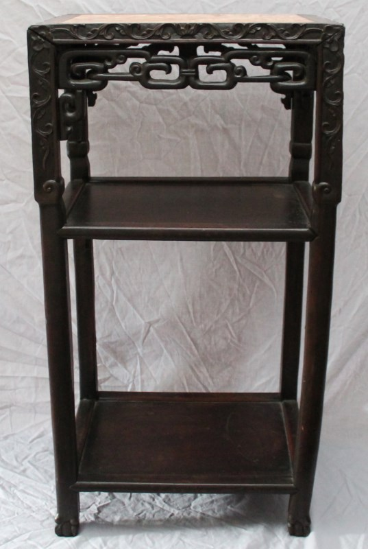 19th C CHINESE ROSEWOOD & MARBLE 3 TIER STAND