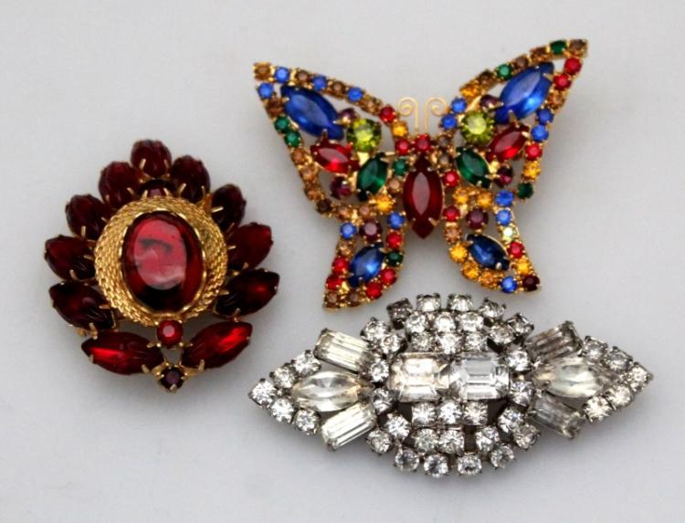 3 PC ESTATE RHINESTONE BROOCHES WEISS BUTTERFLY +MORE