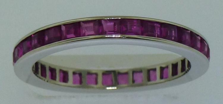 14KT WHITE GOLD PINK STONE ETERNITY BAND (1.50 GRAMS)