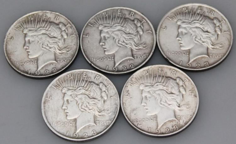 5 1922-1923 PEACE SILVER DOLLARS