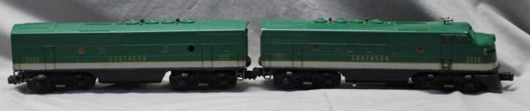 2 PC LIONEL TRAINS SOUTHERN F-3 DIESEL No. 2356 A & B