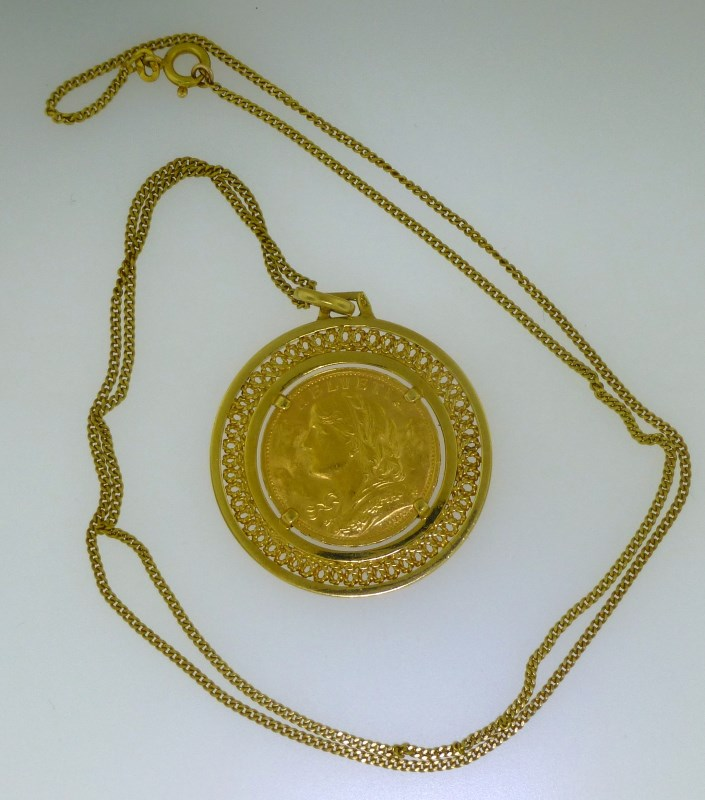 18KT GOLD & 22KT GOLD COIN NECKLACE (16.60 GRAMS)