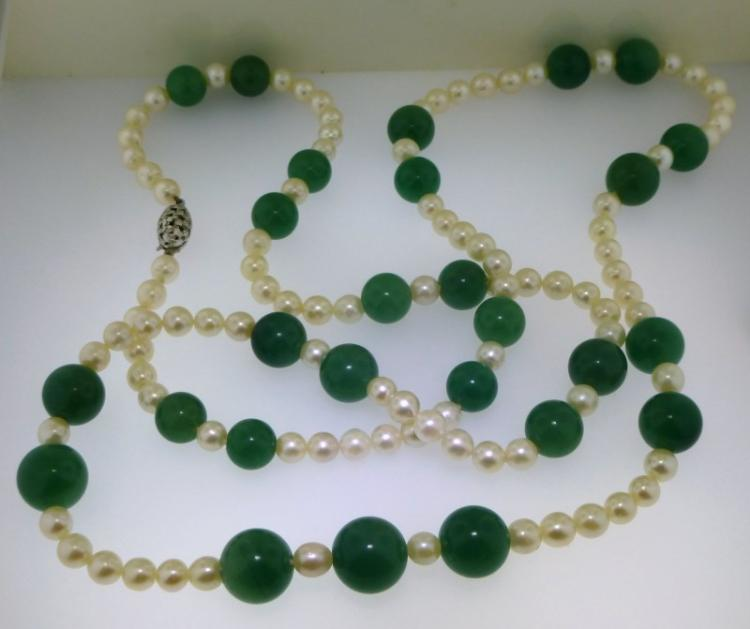 LONG PEARL & GREEN STONE NECKLACE (92.00 GRAMS)