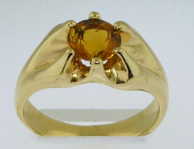 14KT YELLOW GOLD CITRINE RING (7.40 GRAMS)