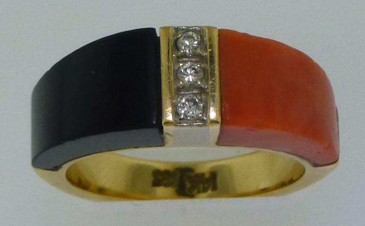 14KT GOLD CORAL, ONYX & DIAMOND RING (7.20 GRAMS)