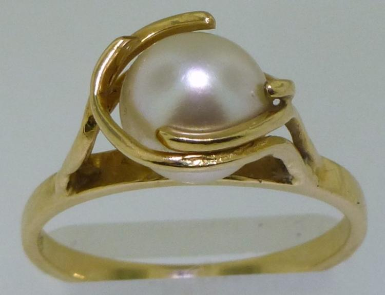 14KT GOLD FREE FORM PEARL RING (2.90 GRAMS)