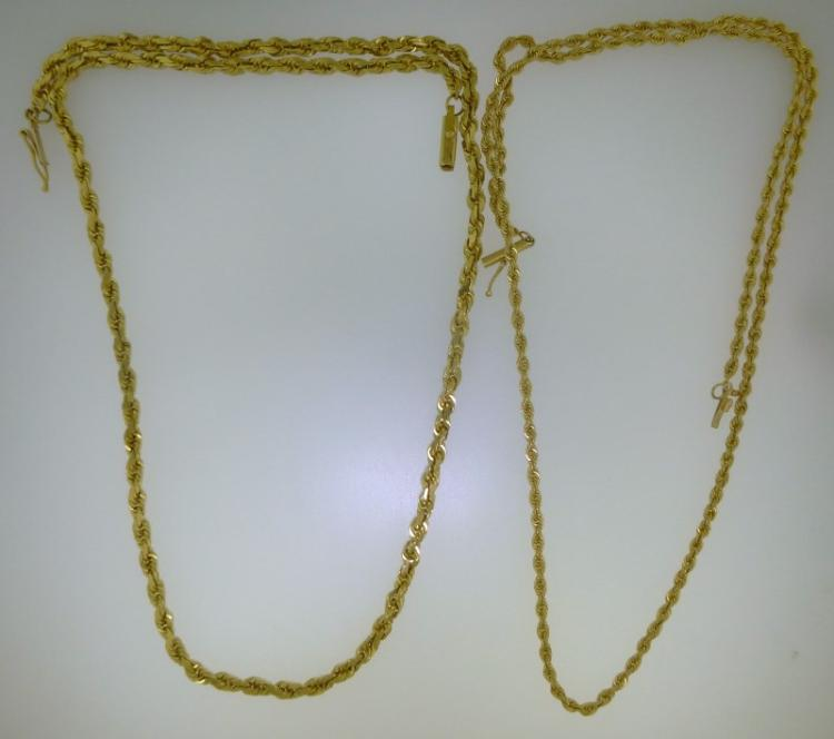PAIR (2) SOLID 14k ROPE NECKLACES