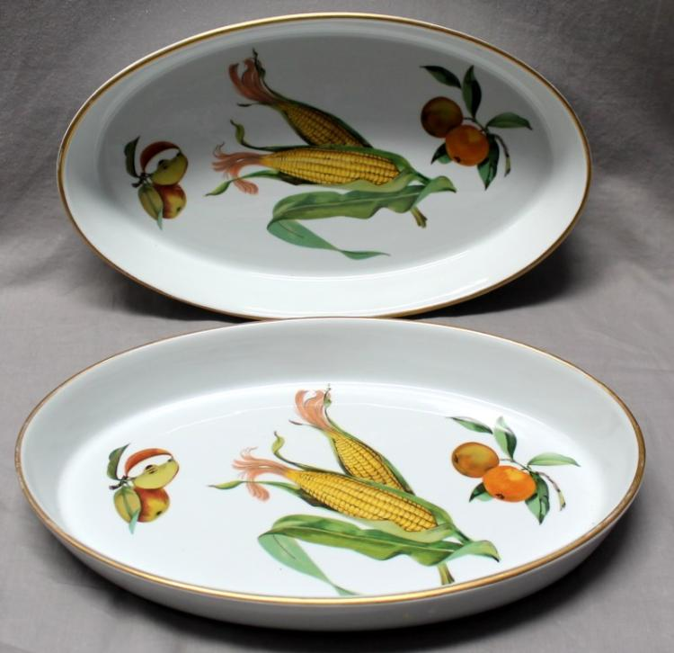 PAIR (2) EVESHAM GOLD ROYAL WORCESTER BAKERS