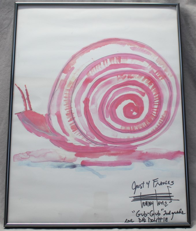 ORIGINAL TOMMY TUNE SNAIL WATERCOLOR