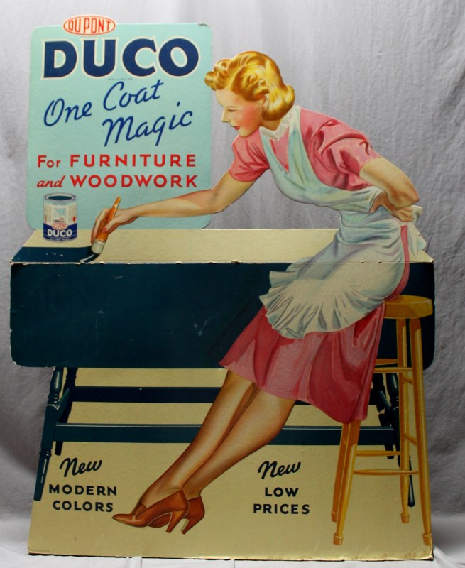 "ORIGINAL 1950s HOUSEWIFE 41"" DUCO STORE DISPLAY"