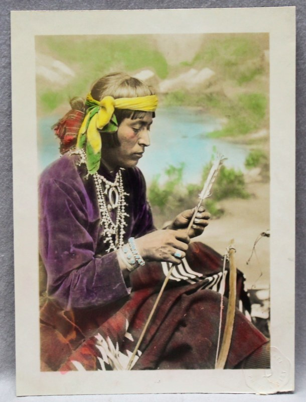 1915 HAND COLORED LARGE PHOTO NAVAJO BRAVE