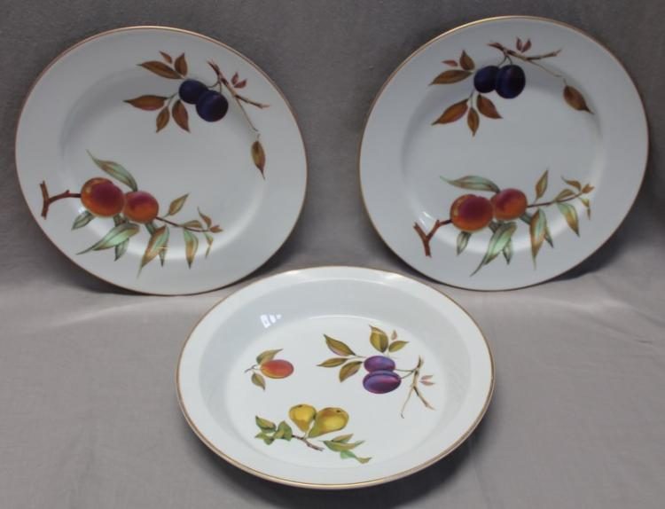 3 Pc EVESHAM GOLD ROYAL WORCESTER PIE + SERVING PLATES
