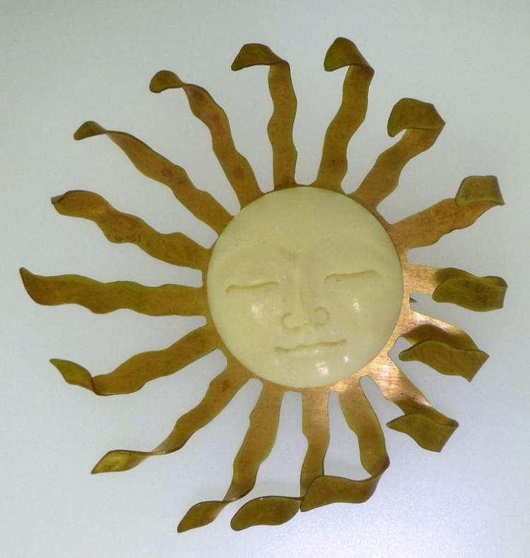 HAND CRAFTED LARGE SUN MOON BROOCH