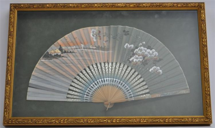 FRAMED HAND PAINTED SILK FAN SHADOWBOX