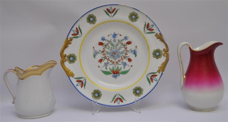 3 pc LIMOGES PLATTER & PITCHERS