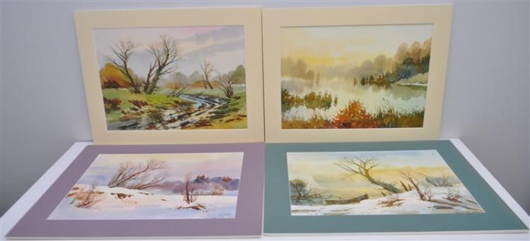 4 RURAL LANDSCAPE WATERCOLORS