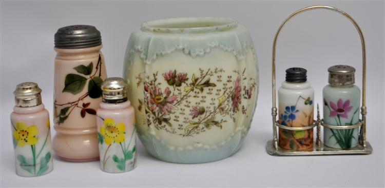 6 WAVECREST / C.F. MONROE HAND PAINTED SUGAR - BISCUIT JAR - SALT SHAKERS