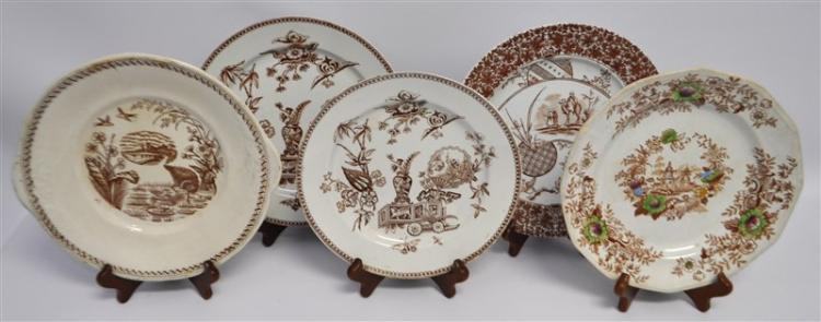 5 pc ANTIQUE 19TH C ENGLISH BROWN TRANSFERWARE
