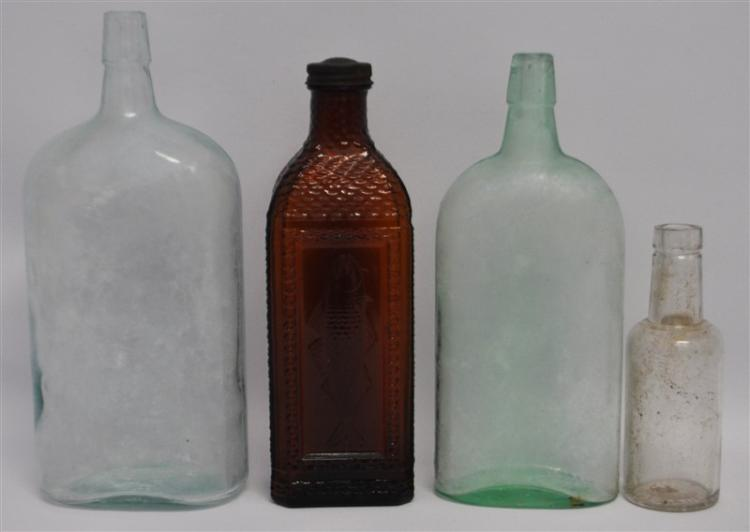 4 ANTIQUE AMERICAN BOTTLES - MCKESSON FISH OIL + MORE