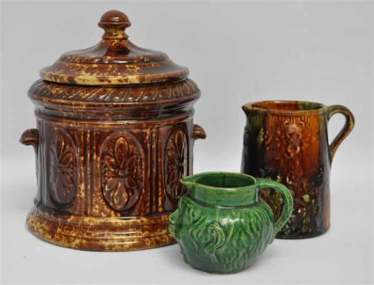 3 pc 19th c ROCKINGHAM TOBACCO JAR + MAJOLICA JUGS